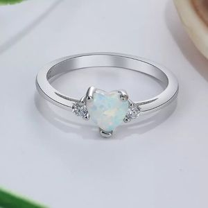 Jewelry - ARRIVED! Heart Cut Opal 925 Silver Ring Size 7